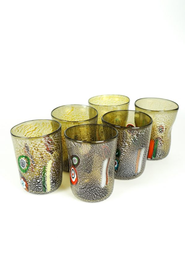 Fury - Set Of 6 Grey Murano Drinking Glasses