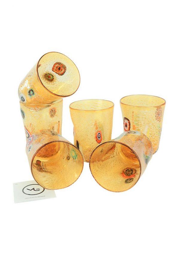 Cleo - Set Di 6 Bicchieri Ambra In Vetro Murano Amber Murano Glasses