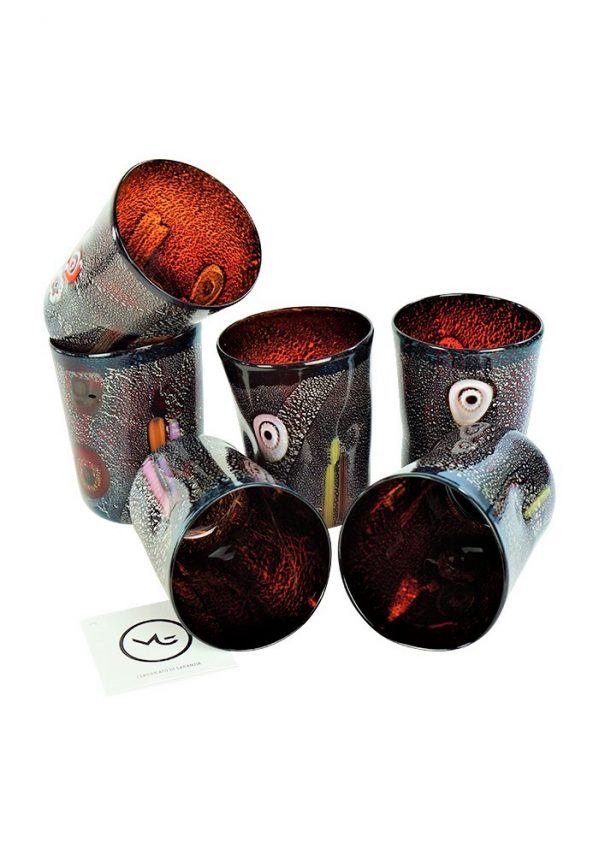 Lava - Set Of 6 Dark Red Murano Drinking Glasses