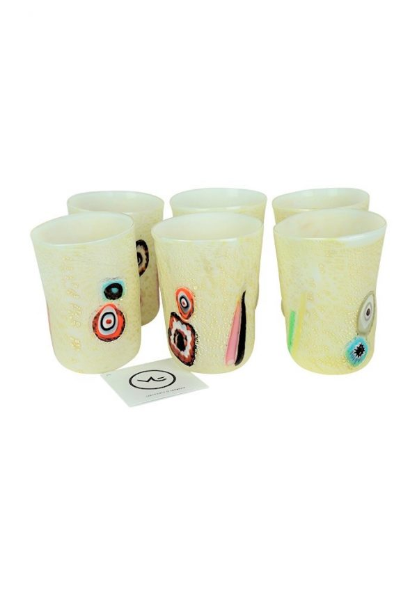 Snow - Set Of 6 White Murano Drinking Glasses