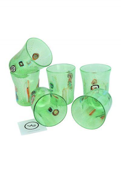 Verdino – Set Of 6 Light Green Murano Drinking Glasses