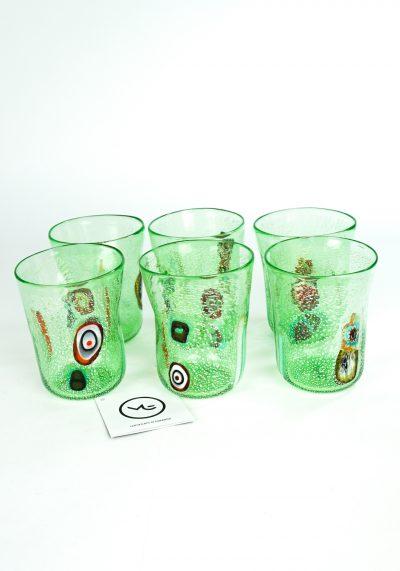 Verdino - Set Of 6 Light Green Murano Drinking Glasses