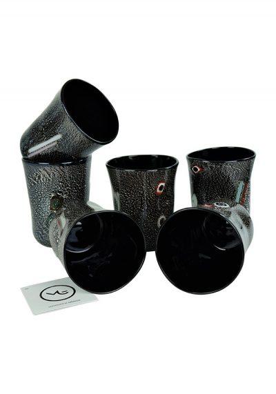 Darkness – Set Of 6 Black Murano Drinking Glasses