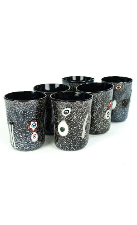 Darkness - Set Of 6 Black Murano Drinking Glasses