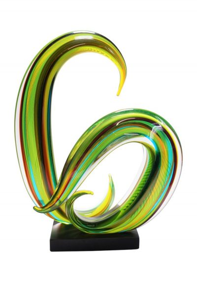 Cocon – Green Moved Sculpture In Murano Glass