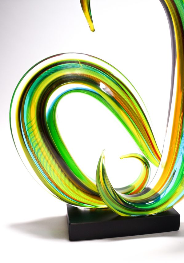 Cocon - Green Moved Sculpture In Murano Glass
