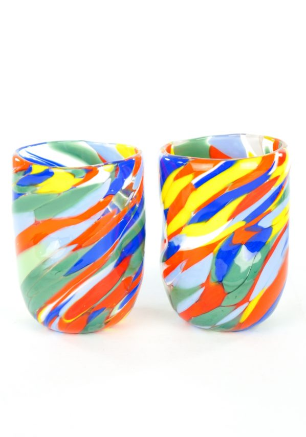 Missoni - Set Of 6 Multicolor Murano Drinking Glasses