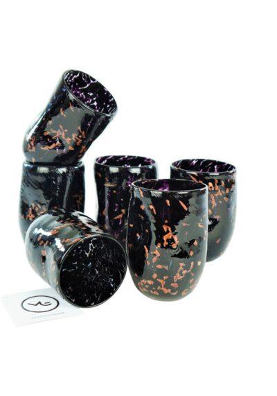 Oscurity – Set Di 6 Bicchieri Nero & Avventurina In Vetro Murano