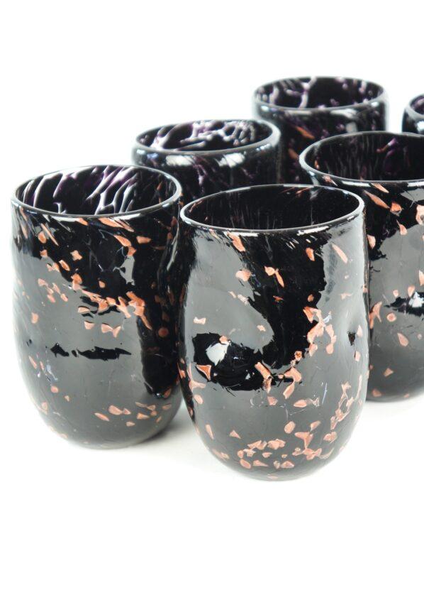 Oscurity - Set Of 6 Black & Aventurine Murano Drinking Glasses