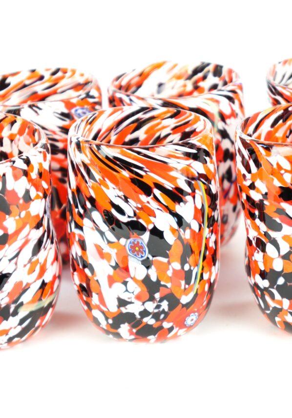Autumn - Set Of 6 Red White Black & Murrina Murano Drinking Glasses