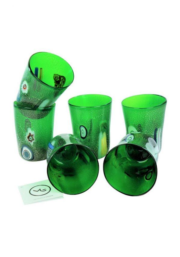 Forest - Set Di 6 Bicchieri Verde In Vetro Murano Green Murano Glasses