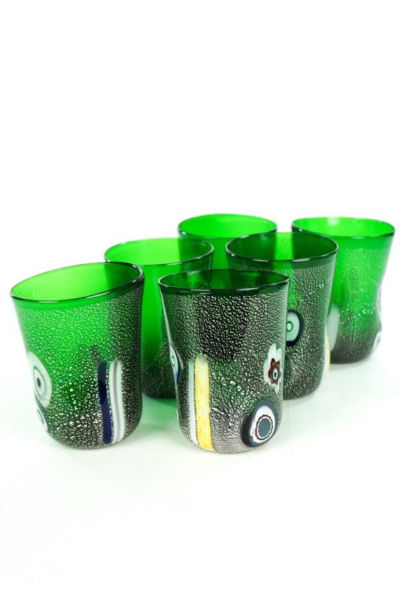 Forest - Set Of 6 Green Murano Drinking Glasses