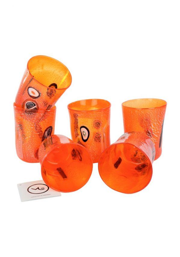 Sunset - Set Di 6 Bicchieri Arancione In Vetro Murano Orange Murano Glasses