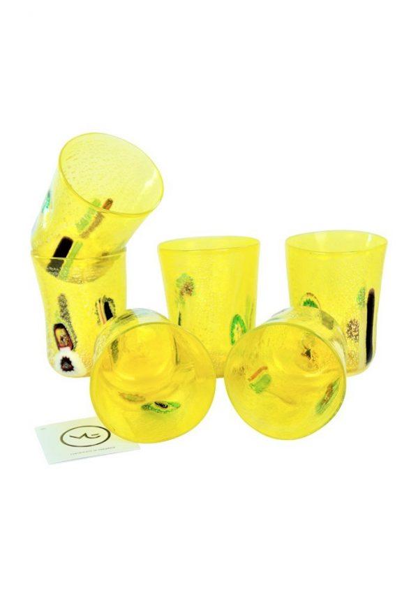 Sun - Set Di 6 Bicchieri Giallo In Vetro Murano Yellow Murano Drinking Glasses
