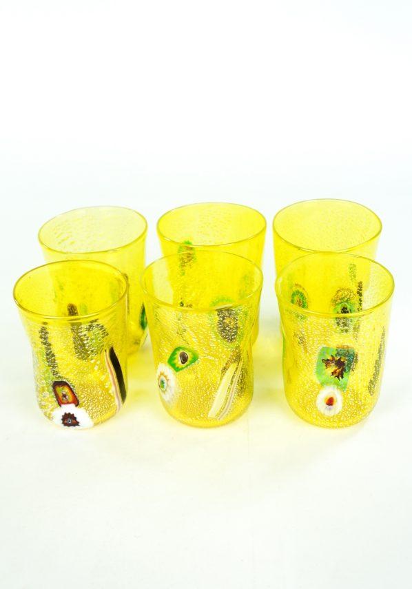 Sun - Set Of 6 Yellow Murano Drinking Glasses