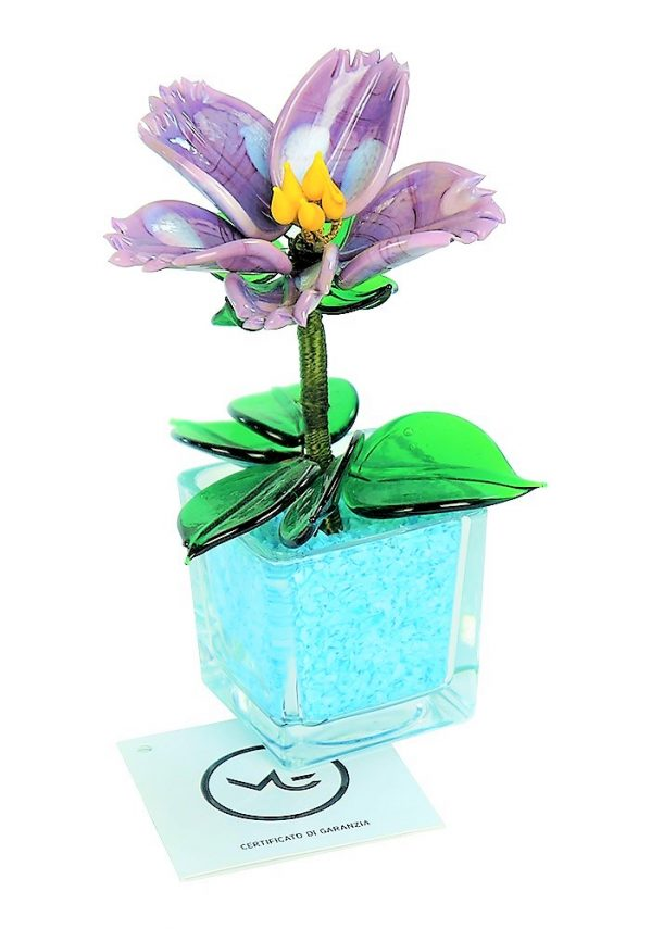 Light Blue Amethyst Murano Glass Flower