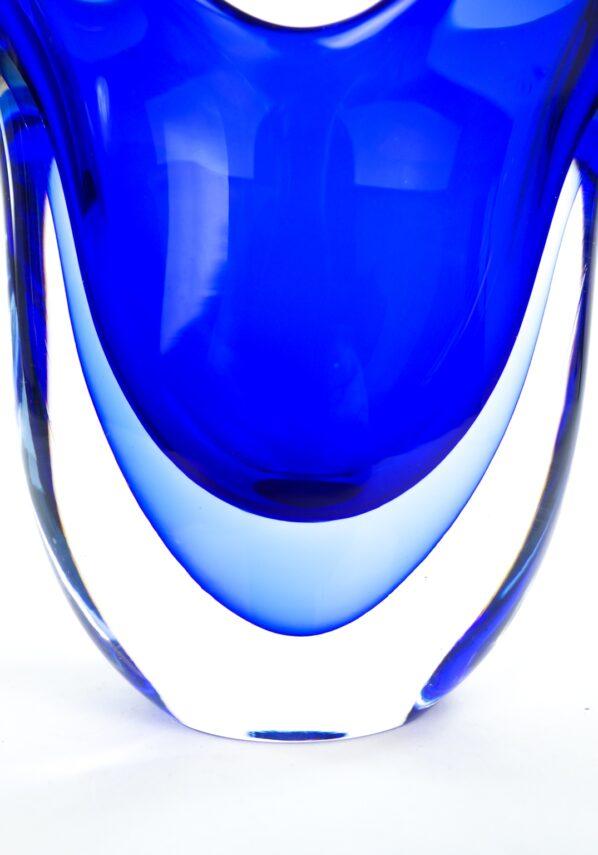 Fan - Blue Sommerso Murano Glass Vase