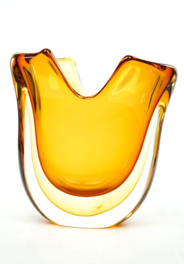 Fan - Amber Sommerso Murano Glass Vase