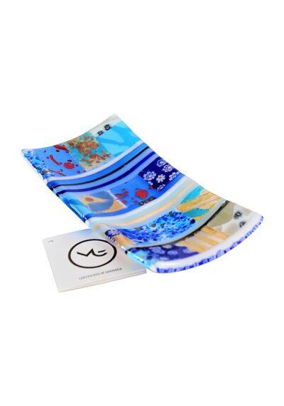 Plate Murano Glass – Blue Mosaic Gold Leaf 24kt